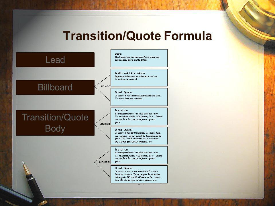 Transition/Quote Formula