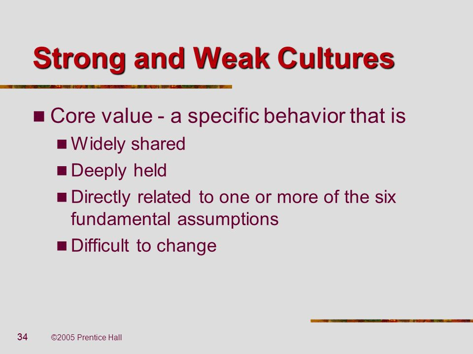 Strong and Weak Cultures