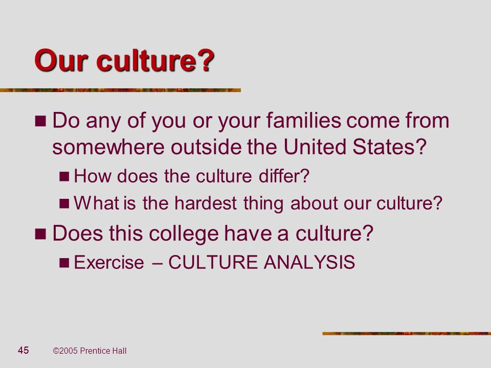 Our culture Do any of you or your families come from somewhere outside the United States How does the culture differ