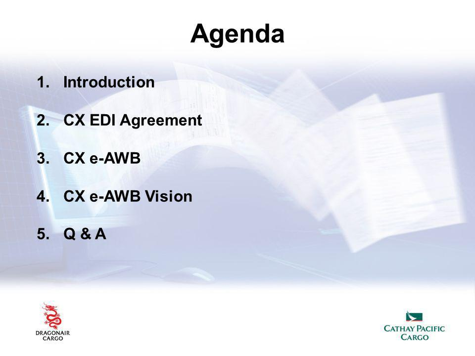 Agenda Introduction CX EDI Agreement CX e-AWB CX e-AWB Vision Q & A