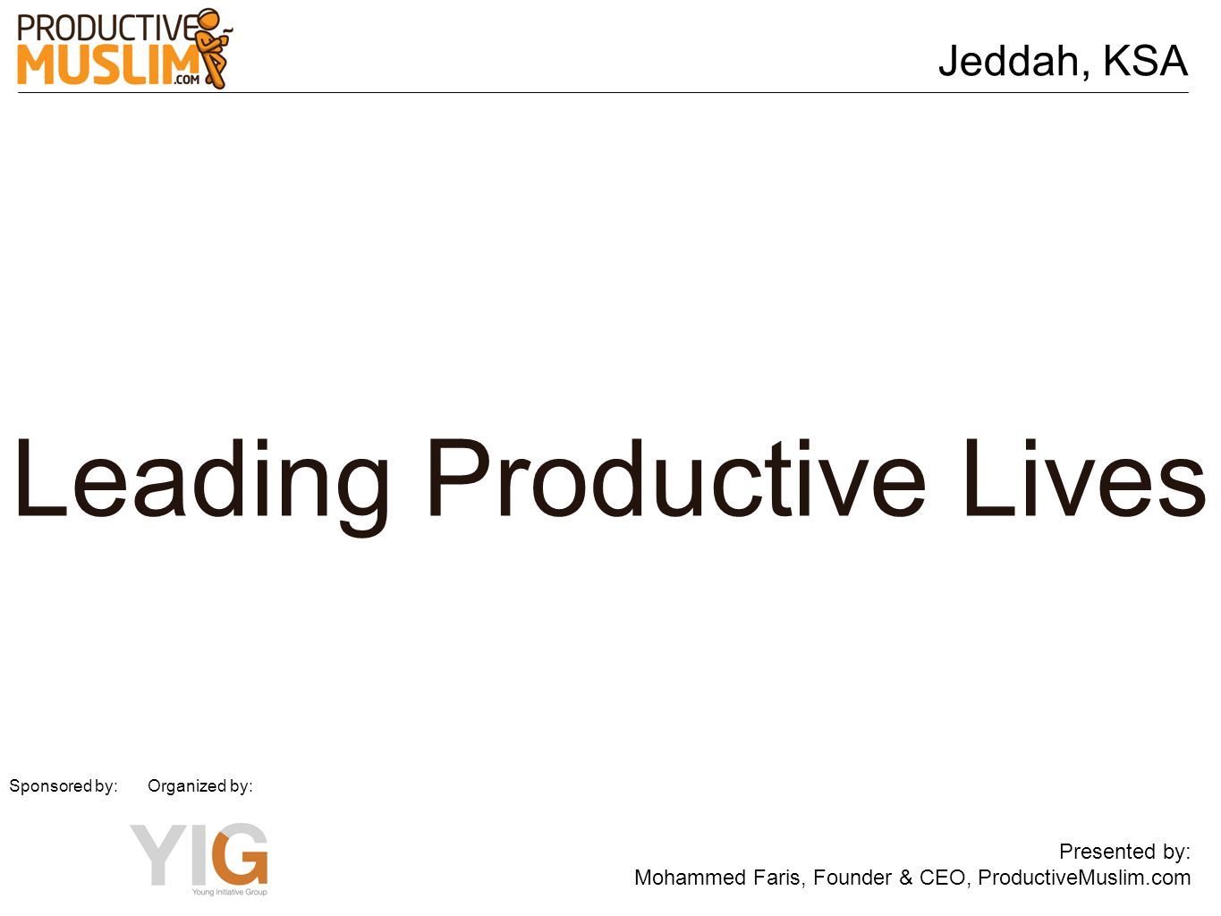 Leading Productive Lives