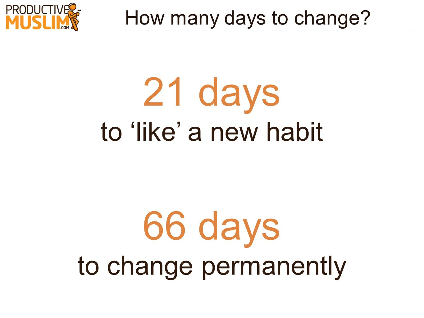 21 days 66 days to 'like' a new habit to change permanently