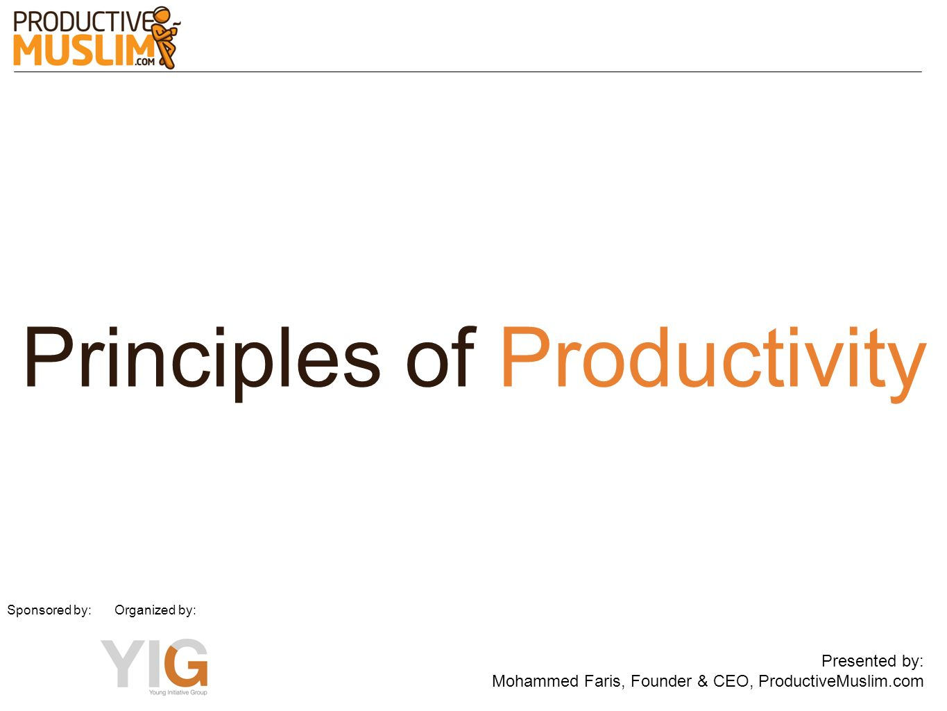 Principles of Productivity