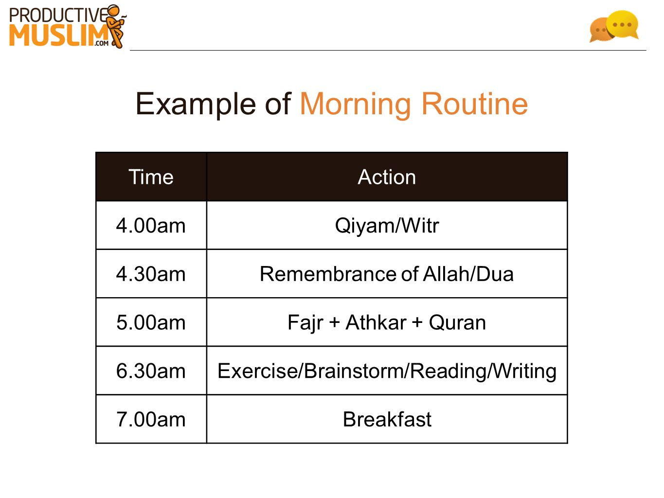 Example of Morning Routine