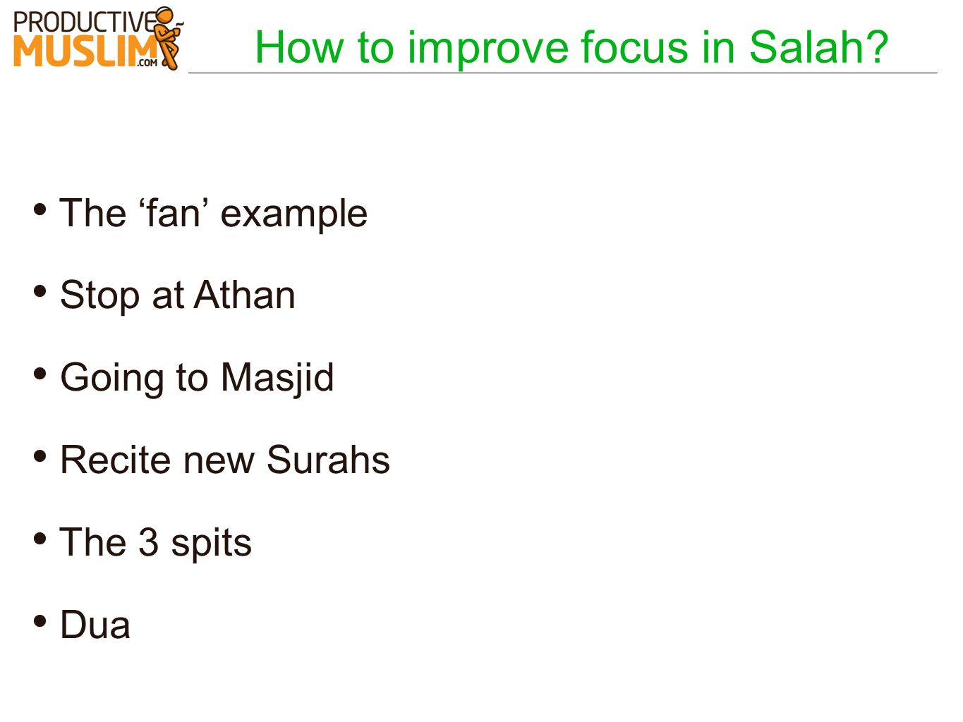 How to improve focus in Salah