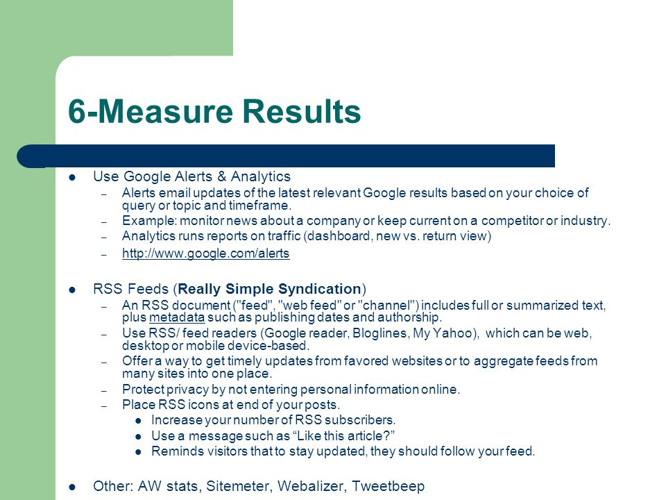 6-Measure Results Use Google Alerts & Analytics