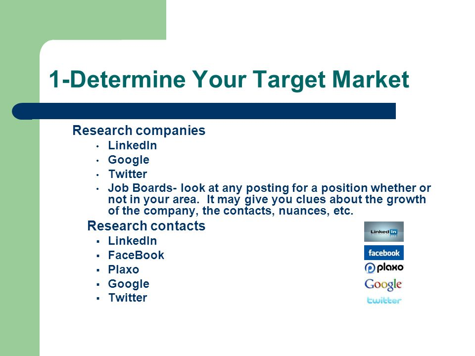 1-Determine Your Target Market