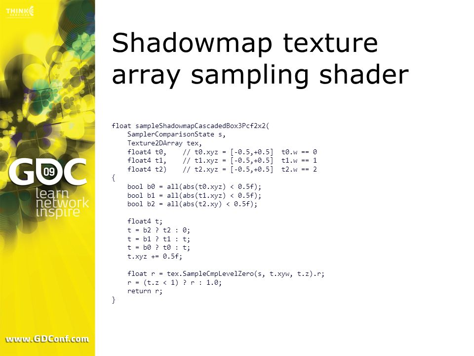 Shadowmap texture array sampling shader