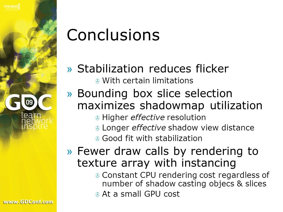 Conclusions Stabilization reduces flicker