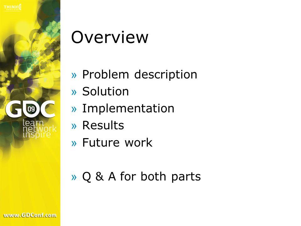 Overview Problem description Solution Implementation Results