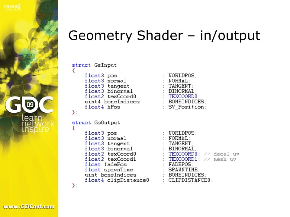 Geometry Shader – in/output