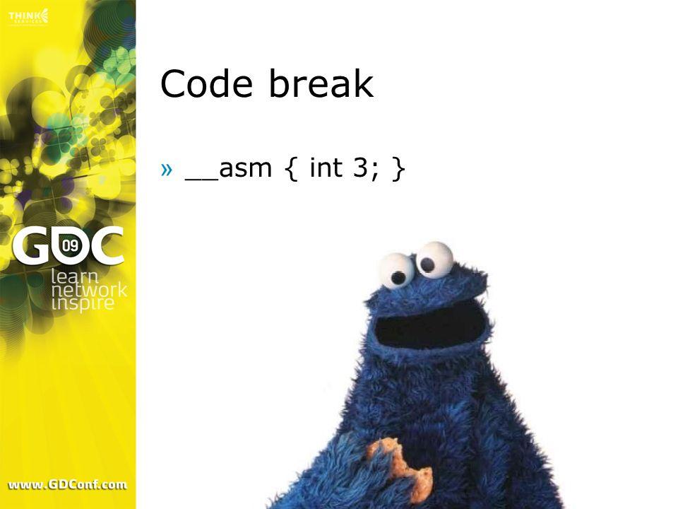 Code break __asm { int 3; }