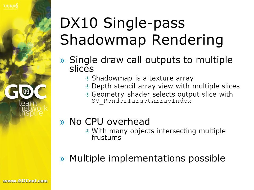 DX10 Single-pass Shadowmap Rendering