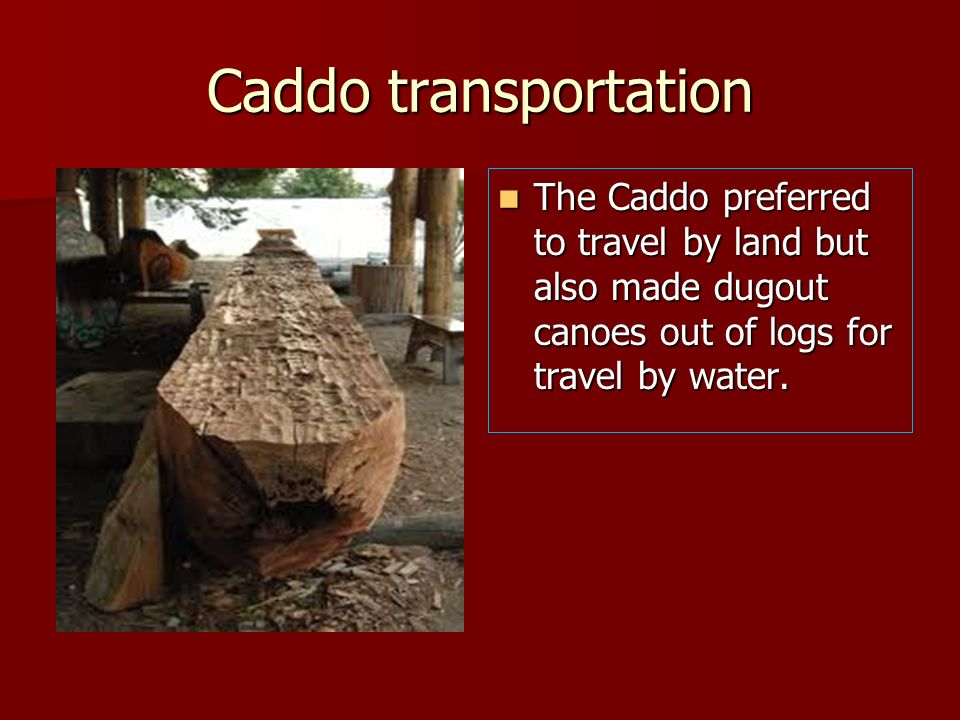 Caddo transportationThe Caddo preferred to travel by land but also made dugout canoes out of logs for travel by water.