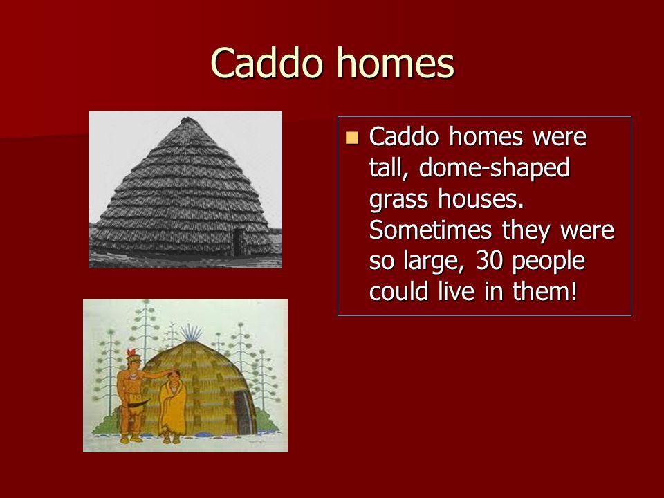Caddo homesCaddo homes were tall, dome-shaped grass houses.