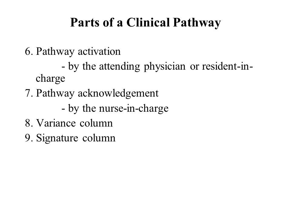 Parts of a Clinical Pathway