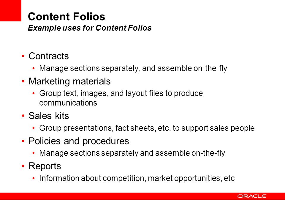 Content Folios Example uses for Content Folios