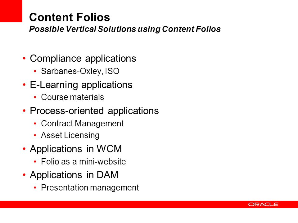 Content Folios Possible Vertical Solutions using Content Folios