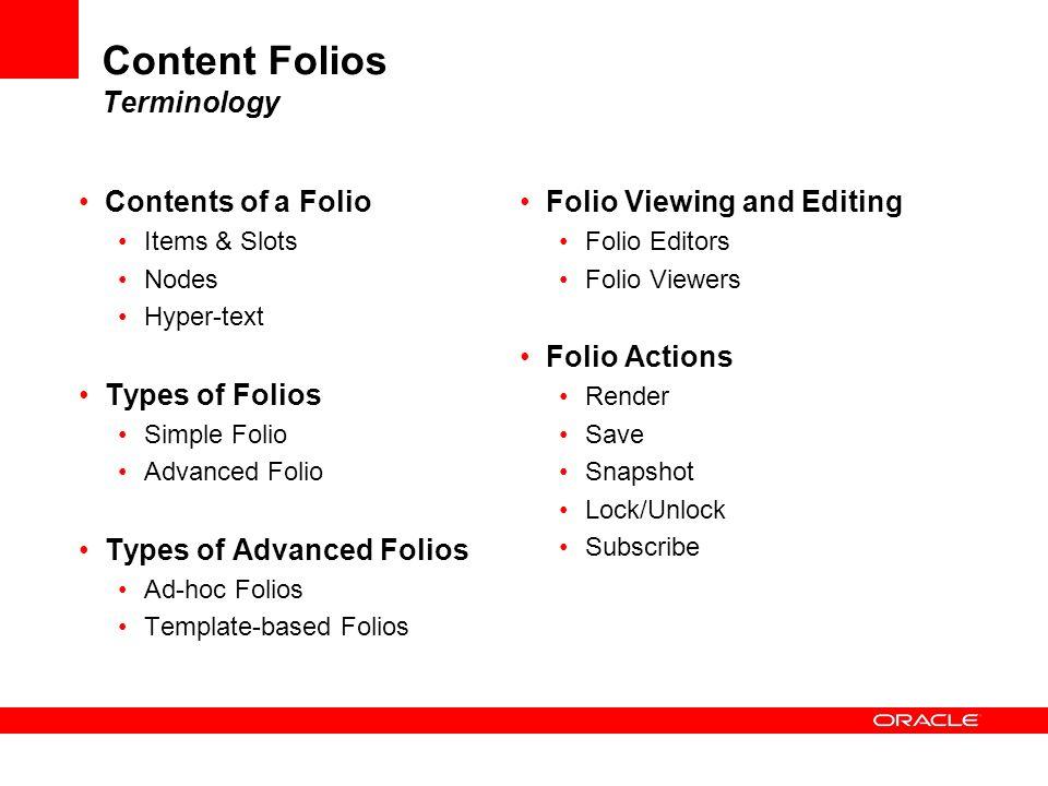 Content Folios Terminology