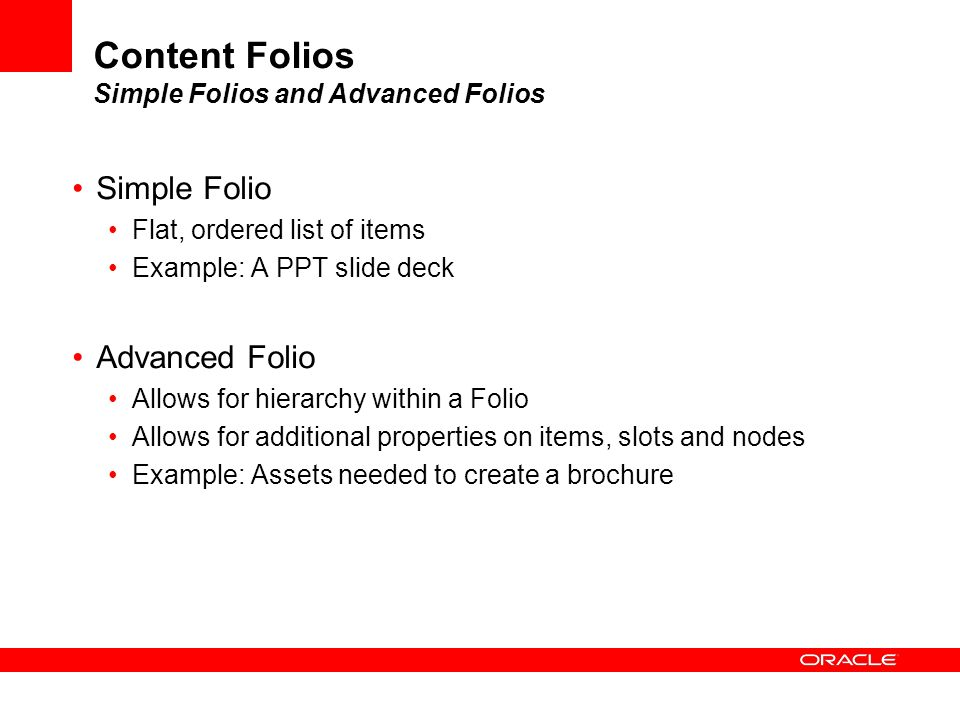 Content Folios Simple Folios and Advanced Folios