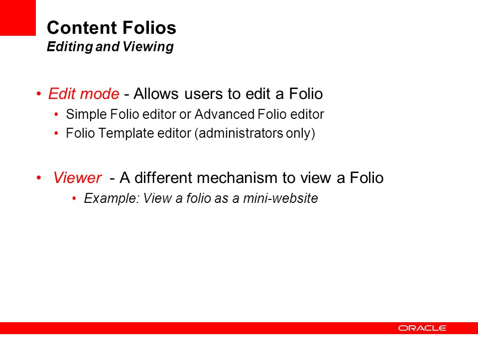 Content Folios Editing and Viewing