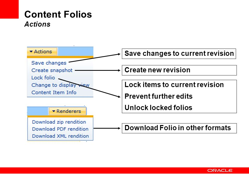 Content Folios Actions