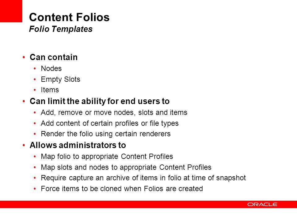 Content Folios Folio Templates