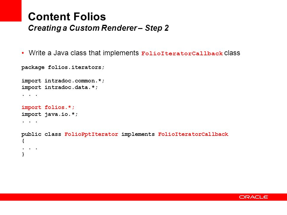 Content Folios Creating a Custom Renderer – Step 2