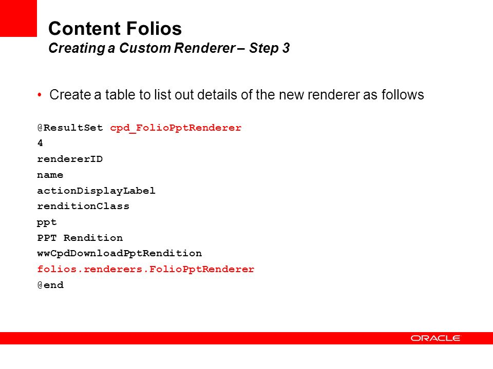 Content Folios Creating a Custom Renderer – Step 3