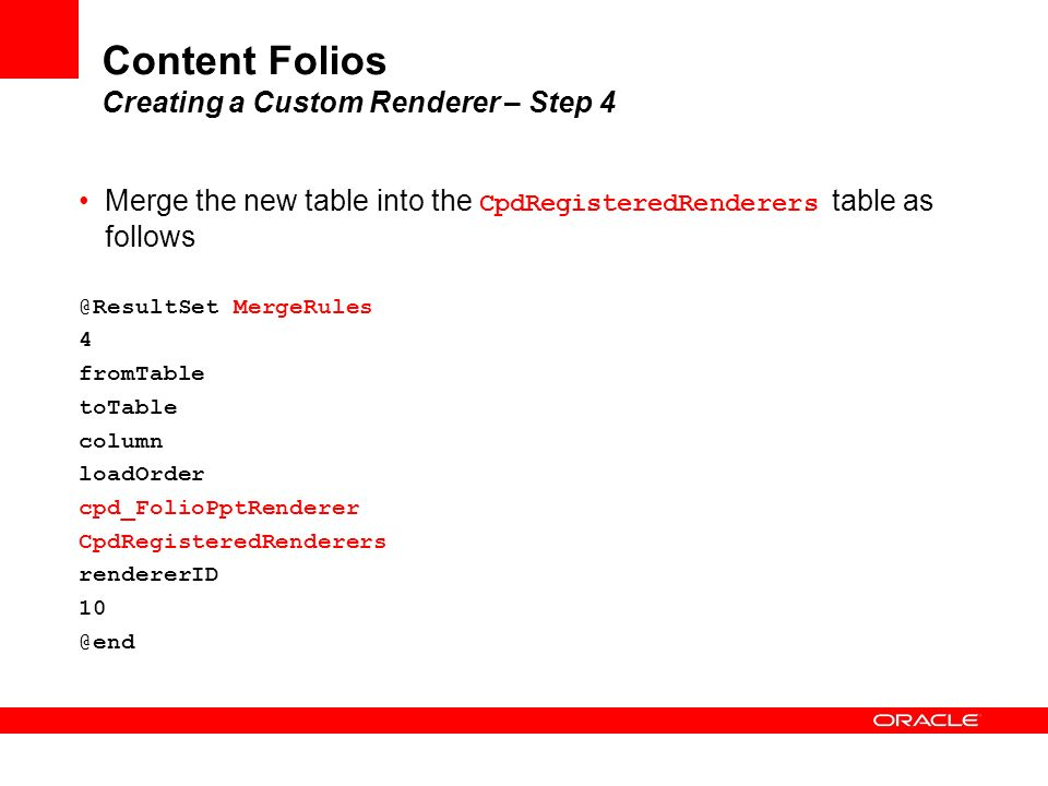 Content Folios Creating a Custom Renderer – Step 4