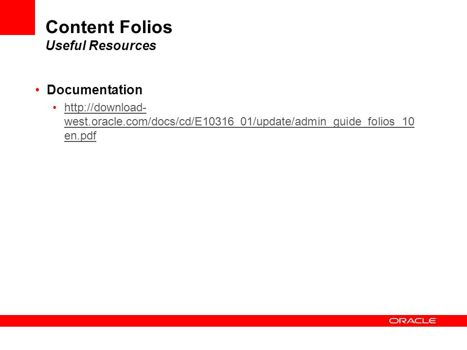 Content Folios Useful Resources