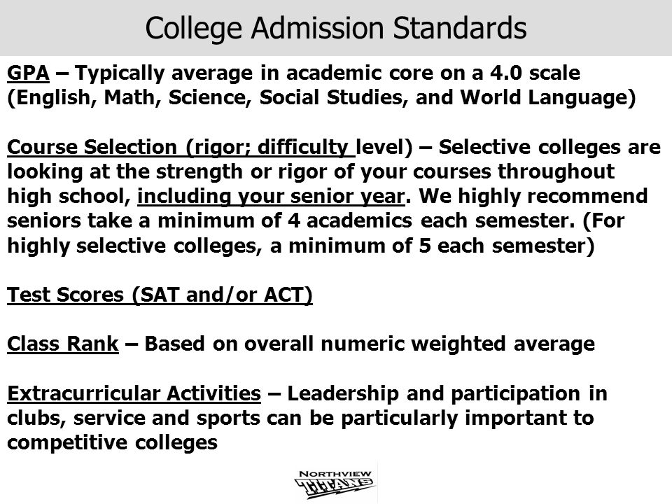 College Admission Standards