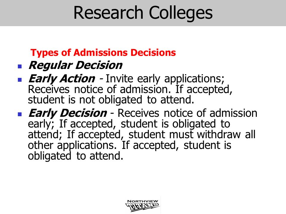 Research Colleges Regular Decision