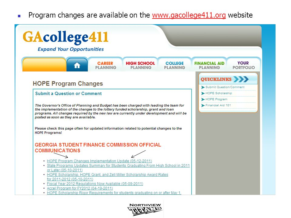 Program changes are available on the www.gacollege411.org website