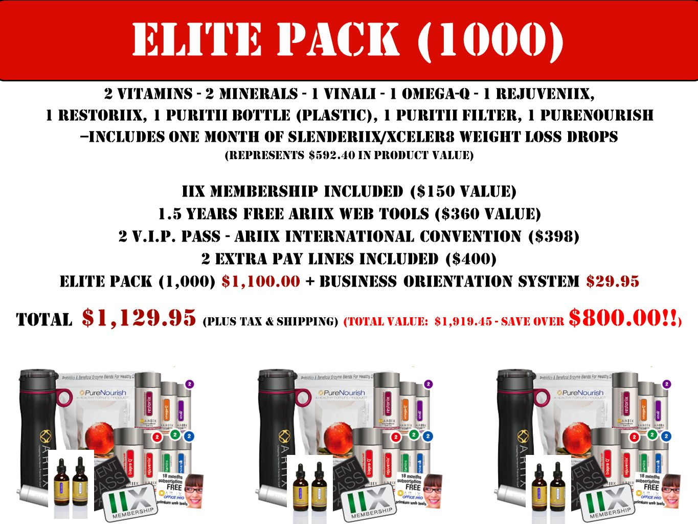 Elite PACK (1000) 2 Vitamins - 2 Minerals - 1 Vinali - 1 Omega-Q - 1 Rejuveniix,