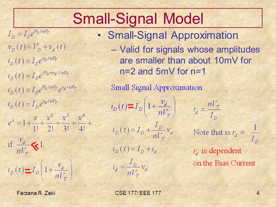 Small-Signal Model Small-Signal Approximation