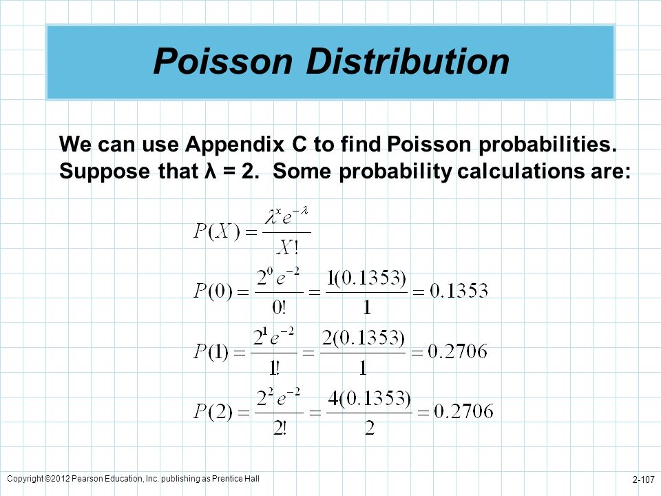 Poisson Distribution We can use Appendix C to find Poisson probabilities. Suppose that λ = 2. Some probability calculations are: