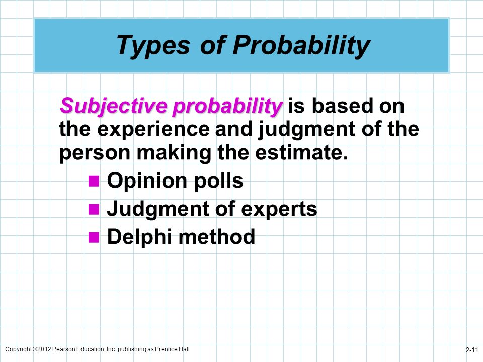 Types of Probability Subjective probability is based on the experience and judgment of the person making the estimate.