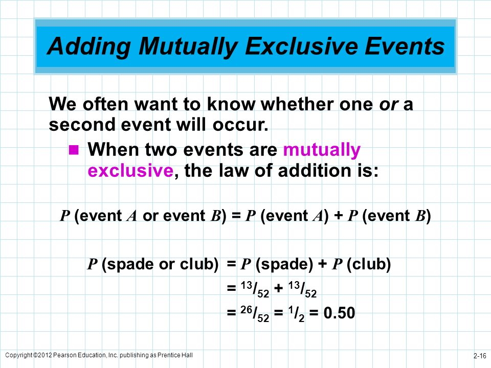 Adding Mutually Exclusive Events