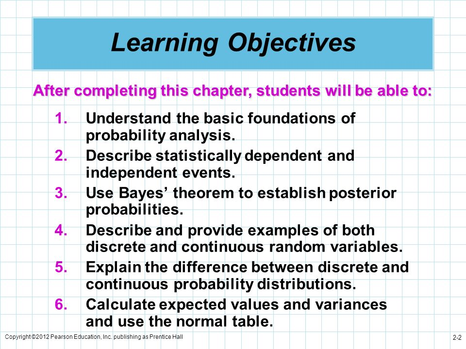 Learning Objectives After completing this chapter, students will be able to: Understand the basic foundations of probability analysis.