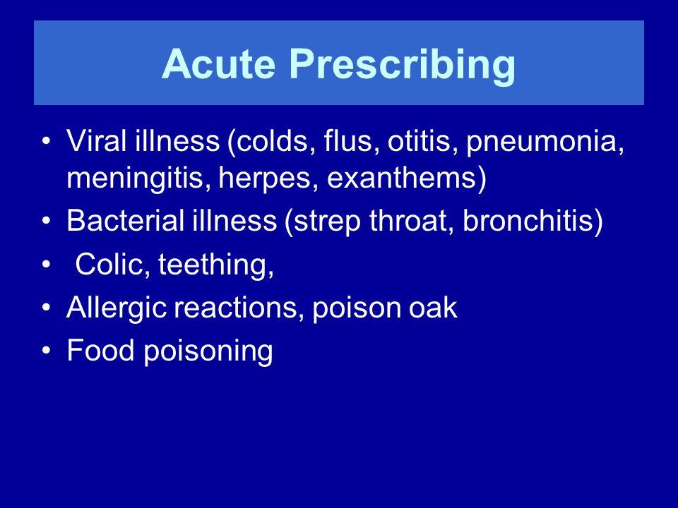 Acute Prescribing Viral illness (colds, flus, otitis, pneumonia, meningitis, herpes, exanthems) Bacterial illness (strep throat, bronchitis)
