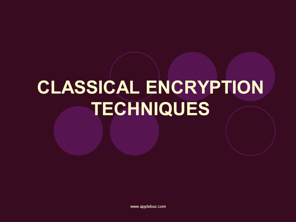CLASSICAL ENCRYPTION TECHNIQUES