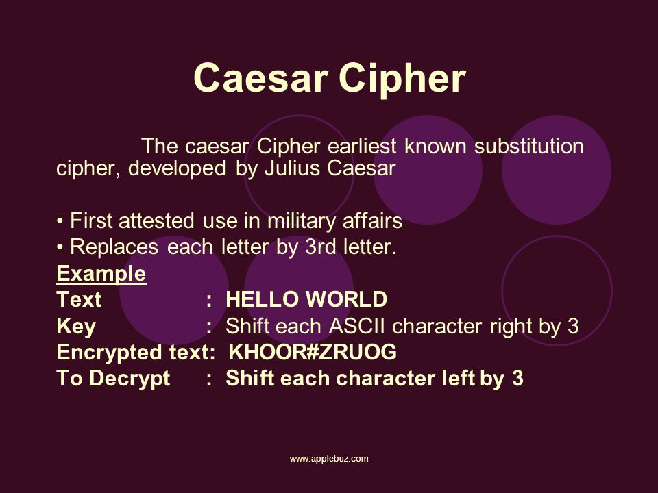 Caesar Cipher The caesar Cipher earliest known substitution cipher, developed by Julius Caesar. • First attested use in military affairs.
