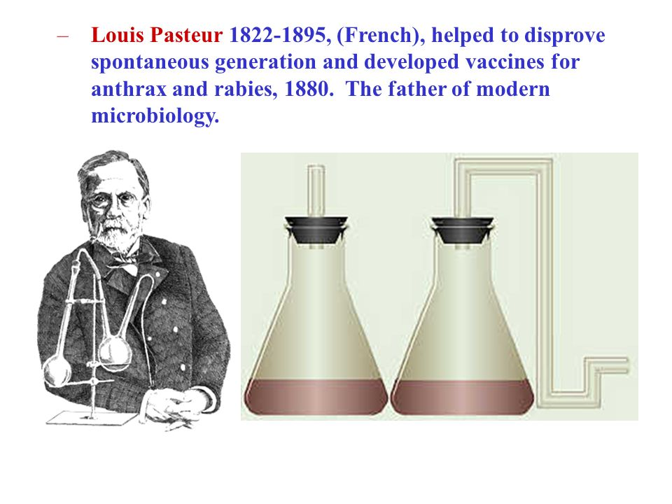Louis Pasteur , (French), helped to disprove spontaneous generation and developed vaccines for anthrax and rabies, 1880.