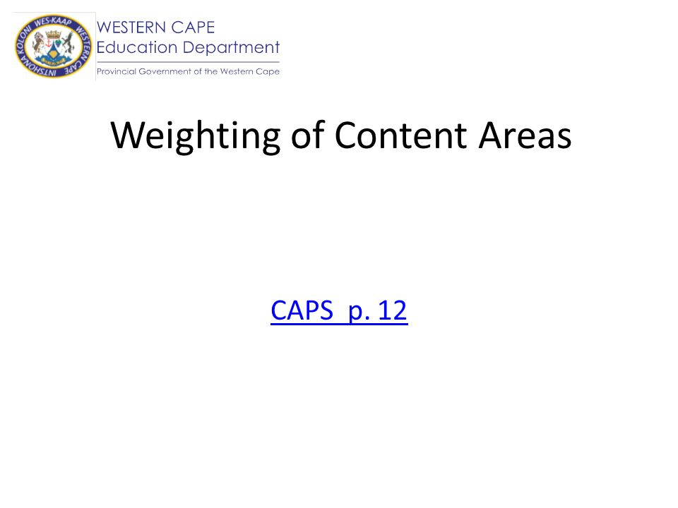 Weighting of Content Areas