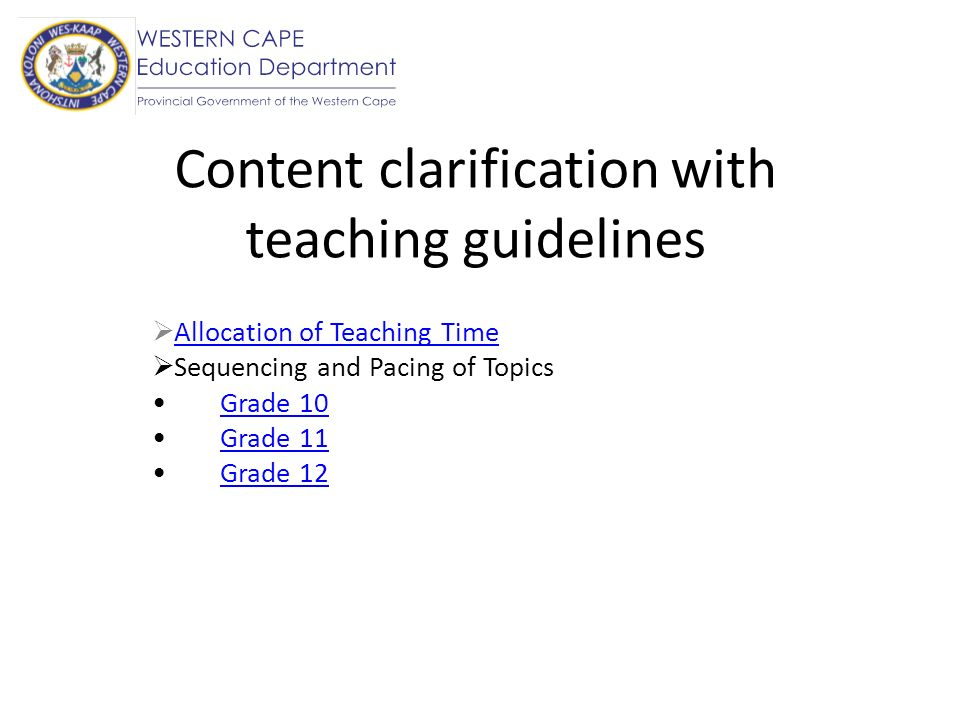 Content clarification with teaching guidelines