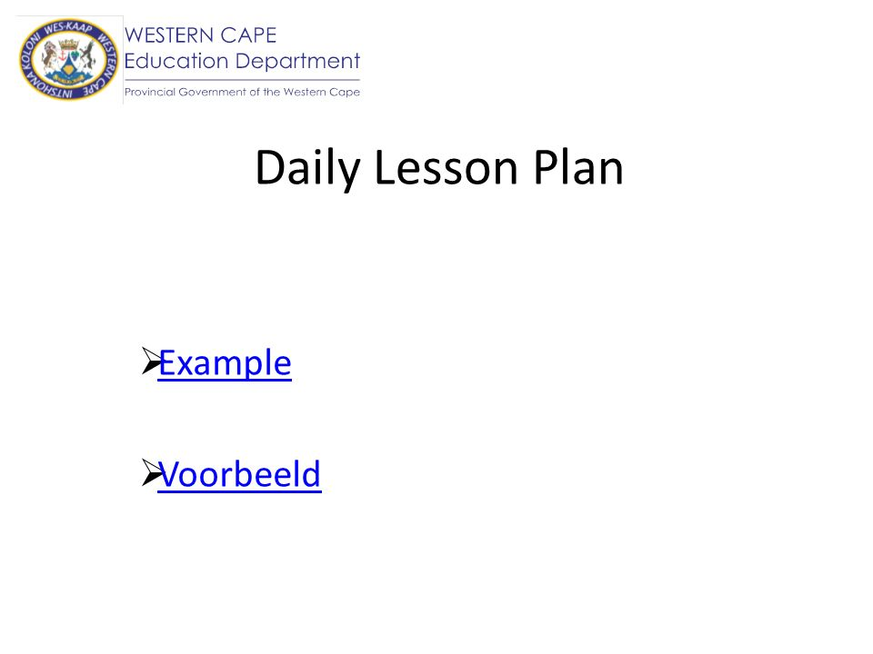 Daily Lesson Plan Example Voorbeeld