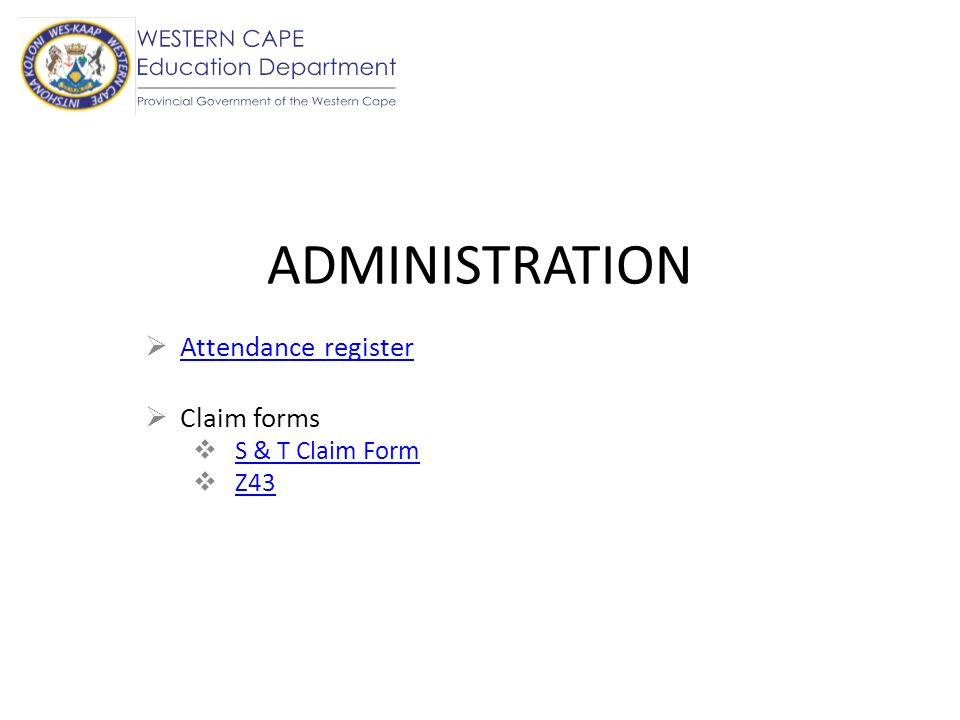 Attendance register Claim forms S & T Claim Form Z43