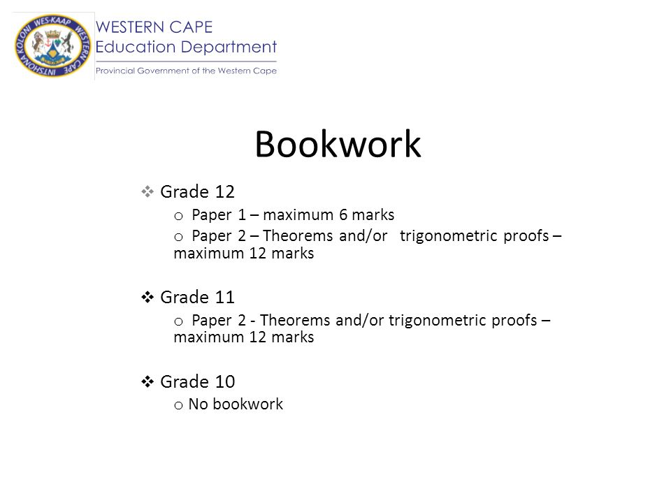 Bookwork Grade 12 Paper 1 – maximum 6 marks