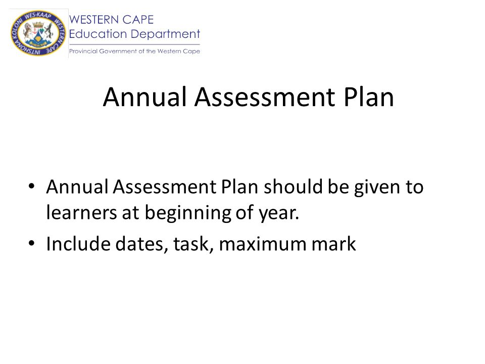 Annual Assessment Plan